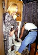 Hardcore blonde tranny in sexy lingerie fucked by the plumber