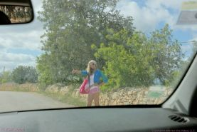 Blonde Hungarian sweet tits and pussy out hitchhiking