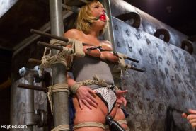 Mellanie Monroe curvy big tits blonde is rope bound and spanked by maledom