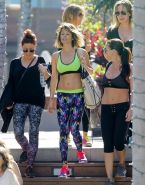 Brooke Burke shows off her fit body wearing sports bra  tights out in Malibu