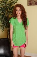 Skinny redhead teen Alice spreading her tight pink pussy
