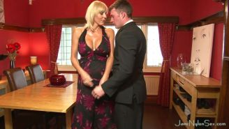 Busty stocking milf Jan Burton has hot hardcore sex