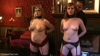 Group of lesbian slaves are dominated in BDSM live party