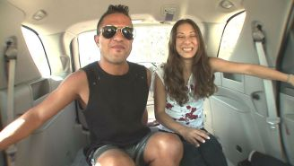 Melanie is playful in the backseat.,Melanie gets more fun with a muff dive.,Babe
