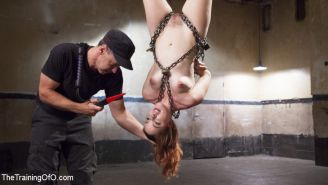 Gorgeous red-head submissive pain slut Amarna Miller wants to be tied up and flo