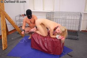Mya was then hogtied and he fucked her throat until the little skank gagged on h