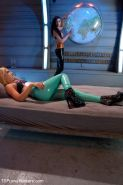 Sci-fi space fucking - girl with a beautiful cock ties up her alien shipmate and