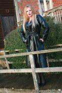 Leather and lingerie milf mistress holly gives slave a handjob