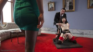 Sexy spoiled Jade receives a naked whipping slave as a present, but learns she l