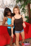 Leah Livingston in lesbian interracial fuck action