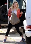 Hilary Duff shows off her ass wearing black tights outside a gym in West Hollywo