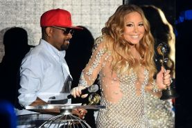 Mariah Carey cleavy wearing two skimpy dresses at the World Music Awards in Mont