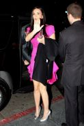 Demi Moore upskirt in elegant pink dress