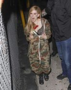 Avril Lavigne showing off her spiky bra at the 'Jimmy Kimmel Live' show in Holly #75218070