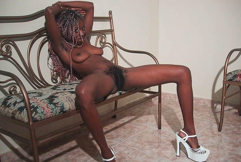 Skinny ebony babe with very hairy pussy #73296804