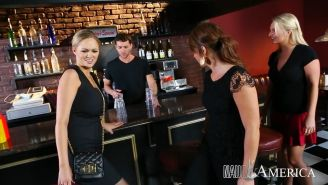 Busty business woman Katie Kox banged in a bar