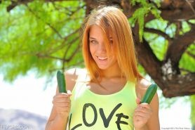Double hole cucumber love with cute Hungarian teen