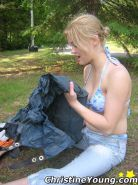 Boob-licking blonde Christine Young on a camping trip