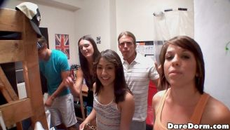 Smoking hot young naked college babes fuck and suck in these hot group sex group