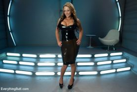 Nikki Sexx dominated and strapon ass fucked in tight latex