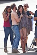 Nicole Kidman all dirty wearing panties and shirt on the Strangerland set in Can