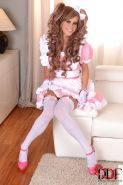 Tracy Gold in pink cosplay dress and heels spreads shaved pussy