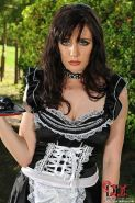 Samantha Bentley kinky stockings maid is bdsm spanked outdoors by two femdoms