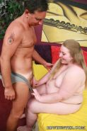 Cute young BBW Shianna spread eagled in bed while a horny guy examines her fat c