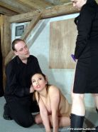Bizarre oriental lesbian spanking and humiliation of strapon sucking busty slave