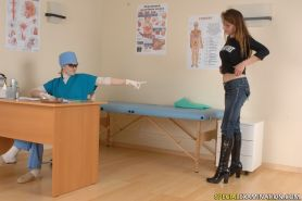 Nude girl does exercises at a physical exam