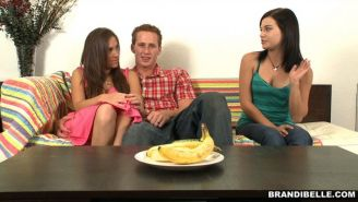 Brandi Belle gives a blowjob lesson to a couple