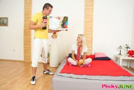 Young and horny teen Pinky June orders pizza and fucks delivery guy