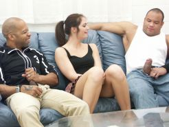 Brunette gets a muff diving in two black guys