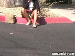 White Cotton Panties Upskirt Shots Caught Curbside