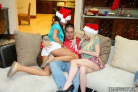 Nauthy teens fucking at hardcore xmas threesome sex party