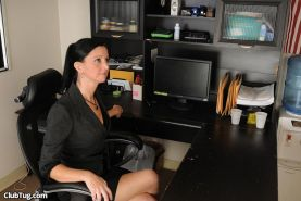 MILF Boss Kelly Green strokes a cock in her office