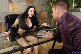 Office lady Amy Anderssen is having her boobies fucked with a cock