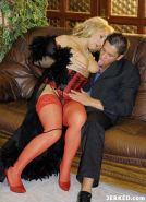Chubby mature woman in sexy lingerie and stockings fucking