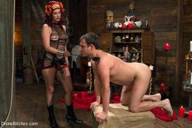 Maitresse Madeline femdom bdsm teasing and fucking her slaves cock from the insi