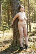 Electric shock bondage with big breasts outdoors.