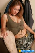 Teen hottie Dawson strips off her sexy camo outfit