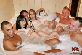 Drunk college students fucking at a hot tub orgy