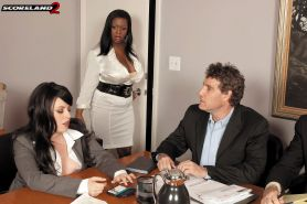 Fuck the busty black boss in office orgy