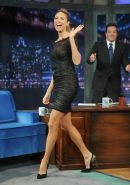 Stacy Keibler leggy  busty wearing a black mini dress on the Late Night with Jim
