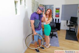 Dani Jensen fucks the delivery guy in her office