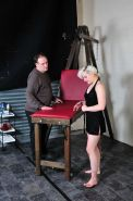 Miss Chaos in kinky foot fetish and bondage of her hotwaxed feet in the dungeon