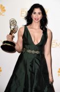 Sarah Silverman showing huge cleavage at the 66th Annual Primetime Emmy Awards