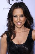 Lacey Chabert showing big cleavage in shiny tight black dress at her 30th birthd