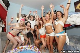 Drunk oil wrestling girls at college dorm room party