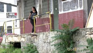Stunning brunette is desperate to pee outside